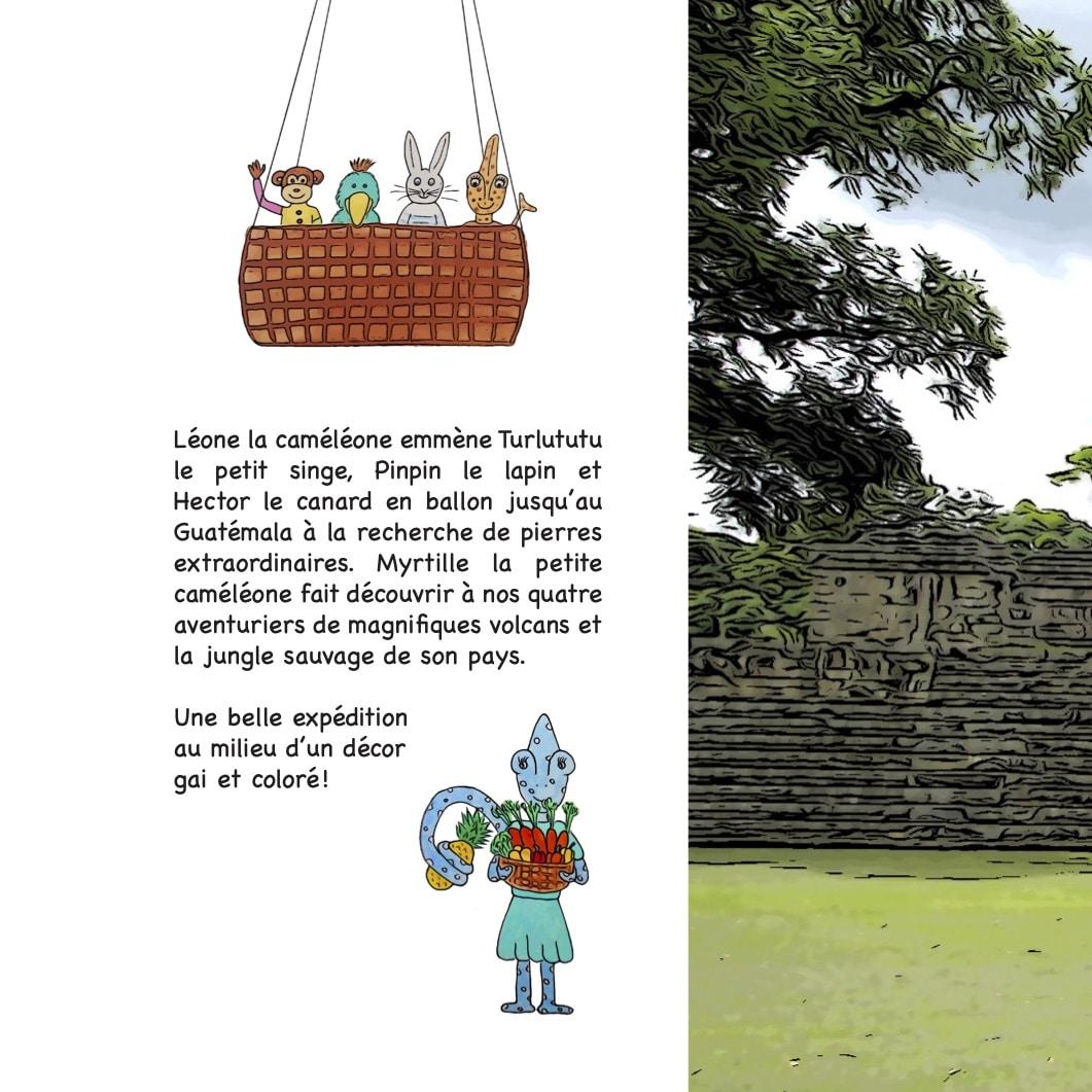 Photo du 4ème de couverture contenant le résumé du livre Chasseurs de pierres au Guatemala