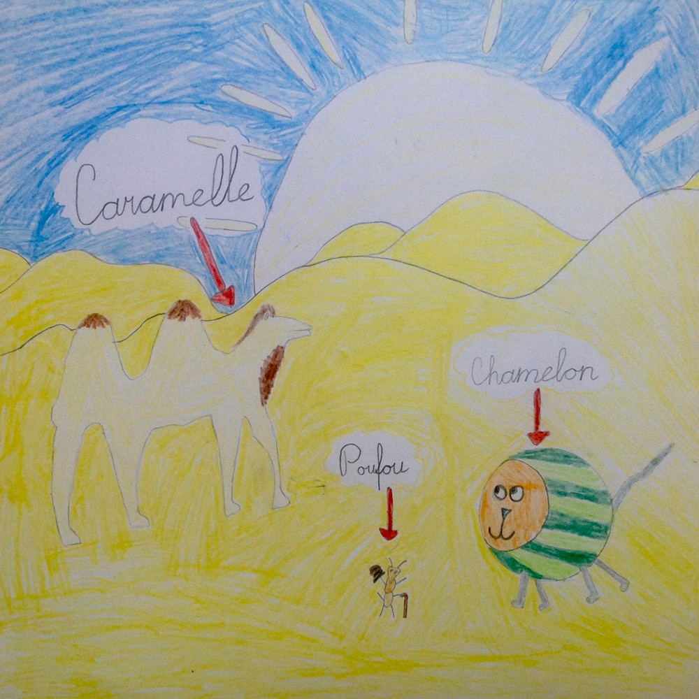 Dessin d'un enfant dans le cadre d'une lecture du livre en classe avec les élèves et l'enseignant d'une école