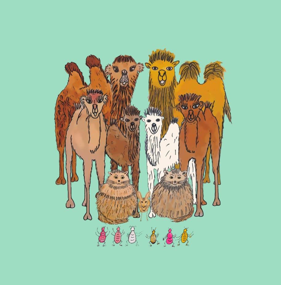 Dessin des chameaux et des poux dans désert de Gobi, dessin représentant le monde du livre Des chameaux et des poux