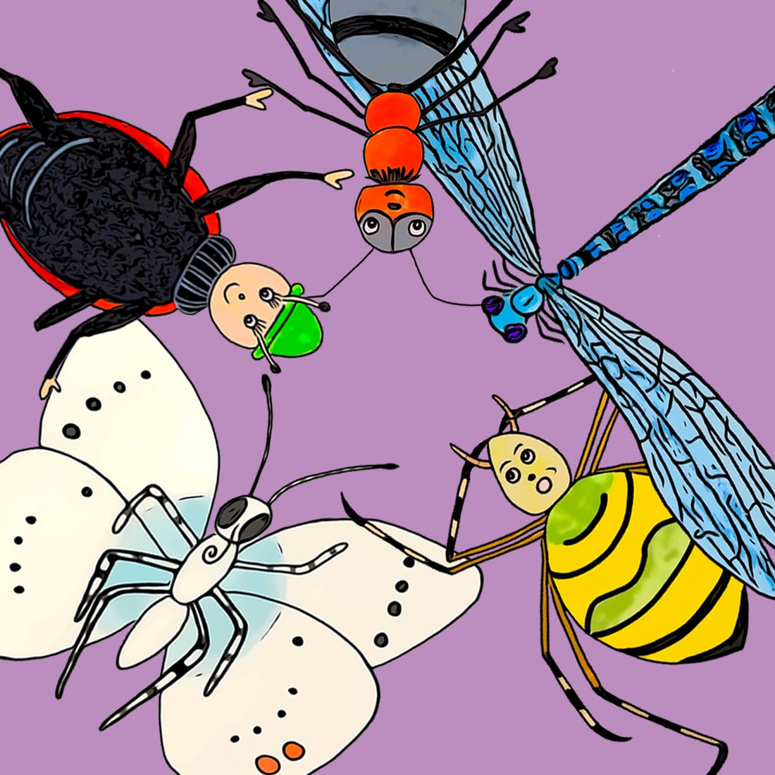 Dessin des insectes représentant le monde des livres du monde des minuscules