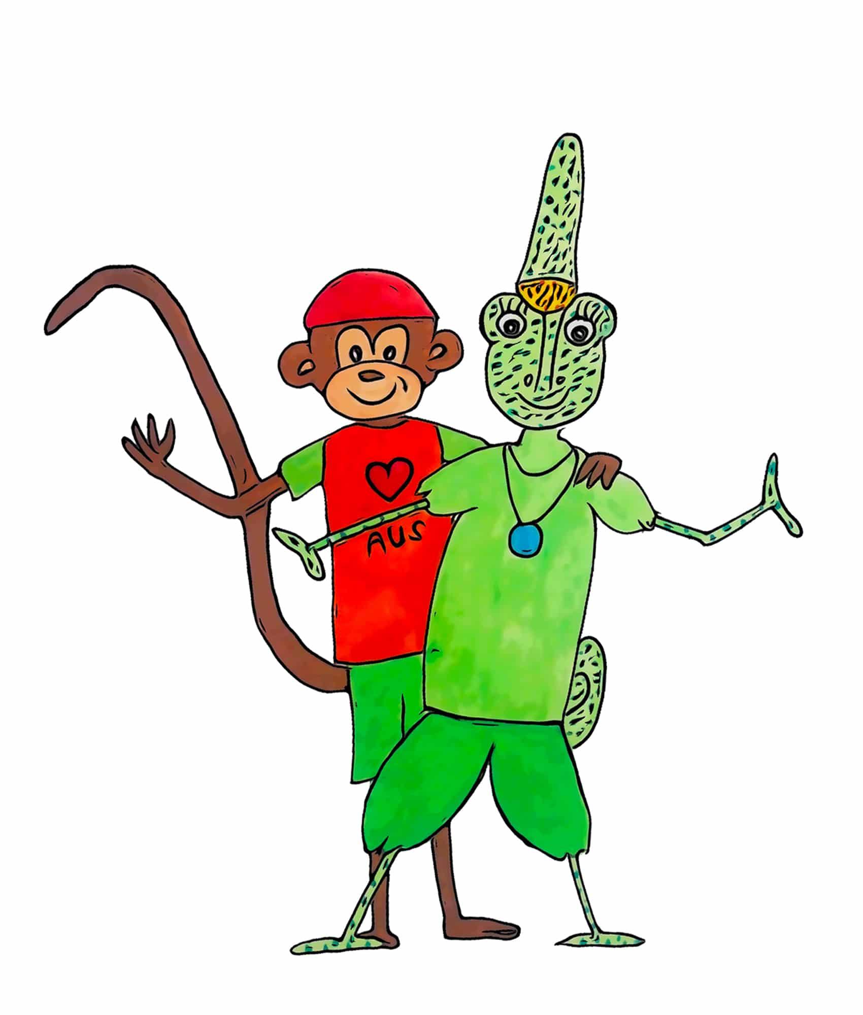 Dessin de Léone la caméléone et de Turlututu le singe des livres pour enfants et jeunesse Chasseurs de pierres