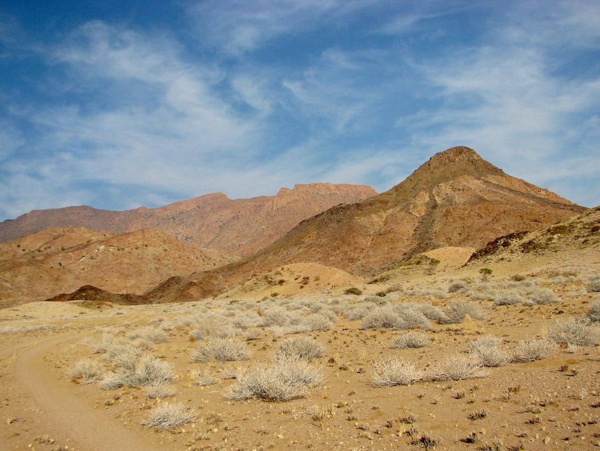 Photo d'un paysage lors d'un voyage au Namibie pour le livre Chasseurs de pierres en Namibie