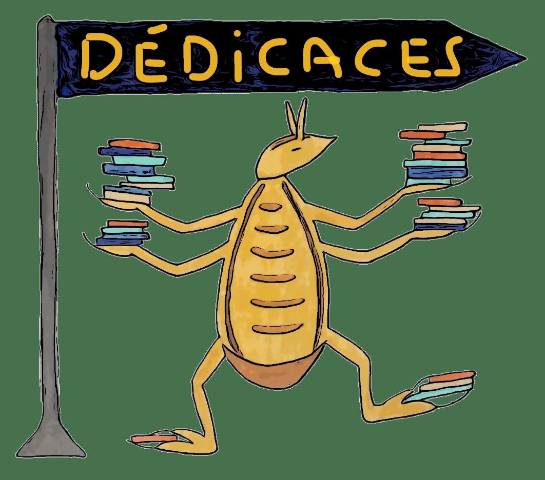 Pou tenant des livres et annonçant les dédicaces de l'auteure Brigitte Favre pour ses livres pour enfants et jeunesse de l'univers Chaboulette